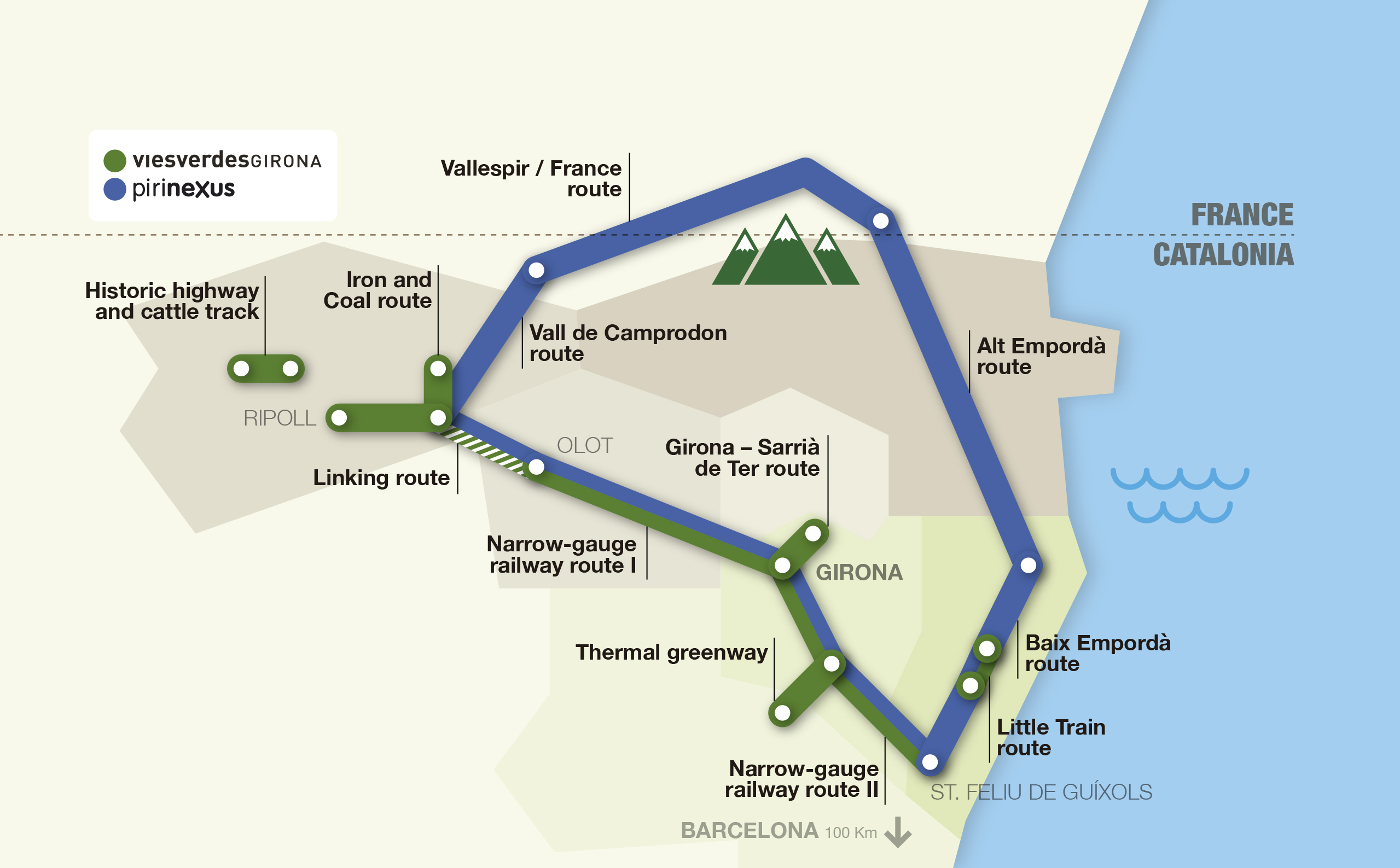 Interactive map of the routes Greenways and Pirinexus