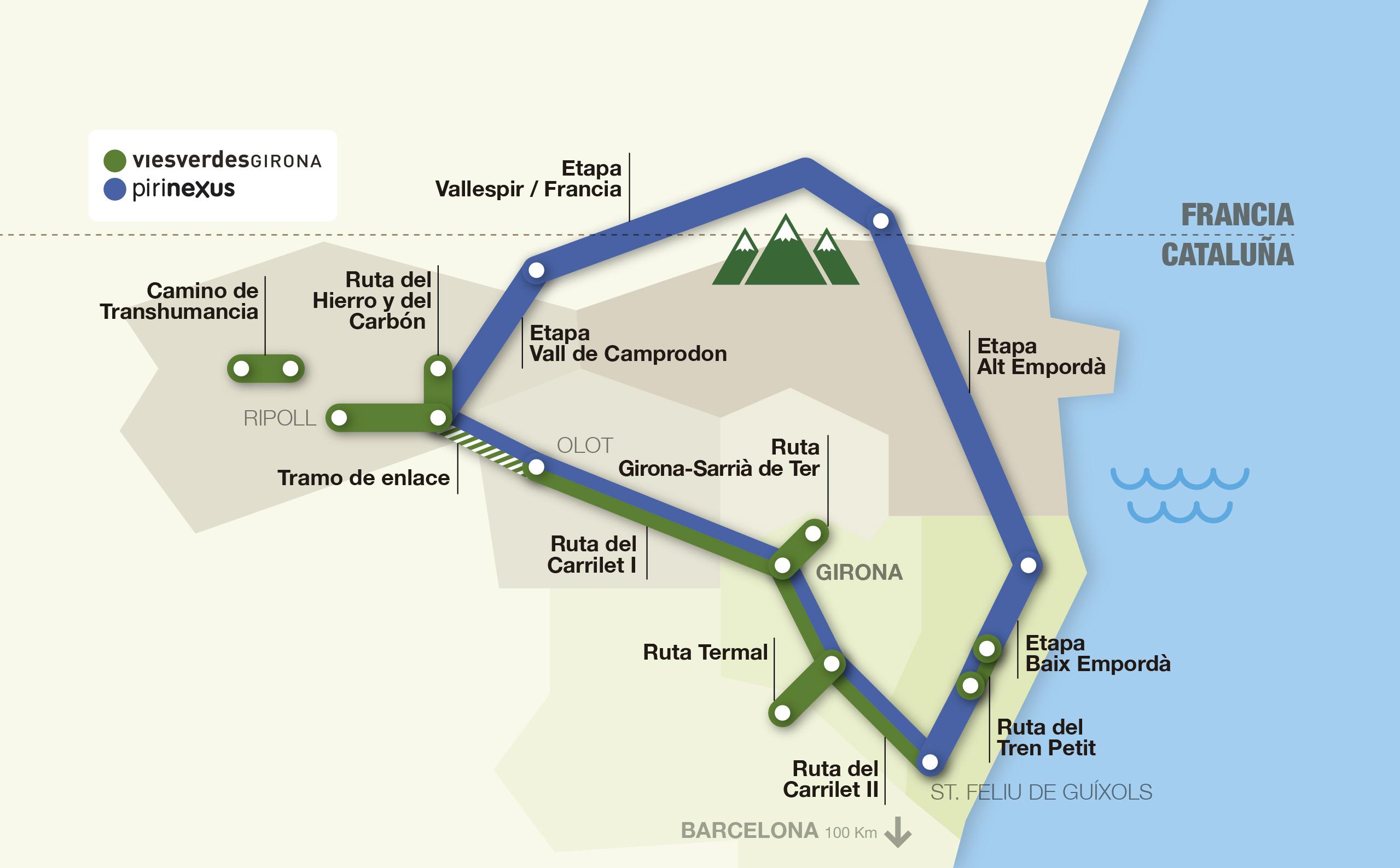Mapa interactivo de las rutas vías verdes y pirinexus