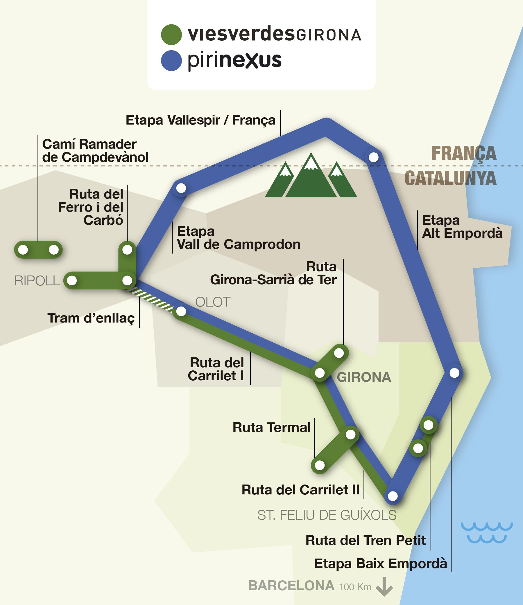 Mapa interactiu de les rutes vies verdes i pirinexus