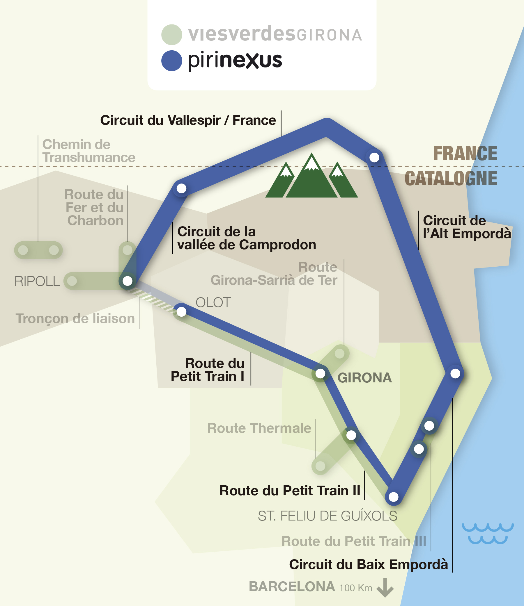 Carte interactive des itinéraires Greenways et Pirinexus