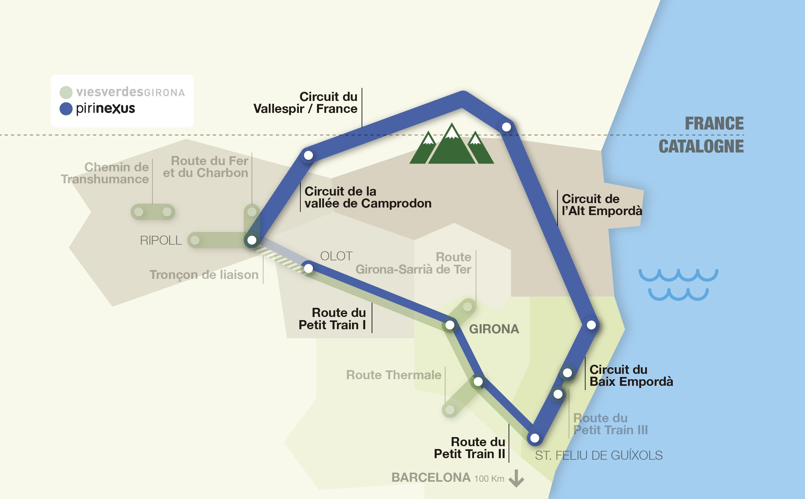 Carte interactive des itinéraires Greenways et Pirinexus