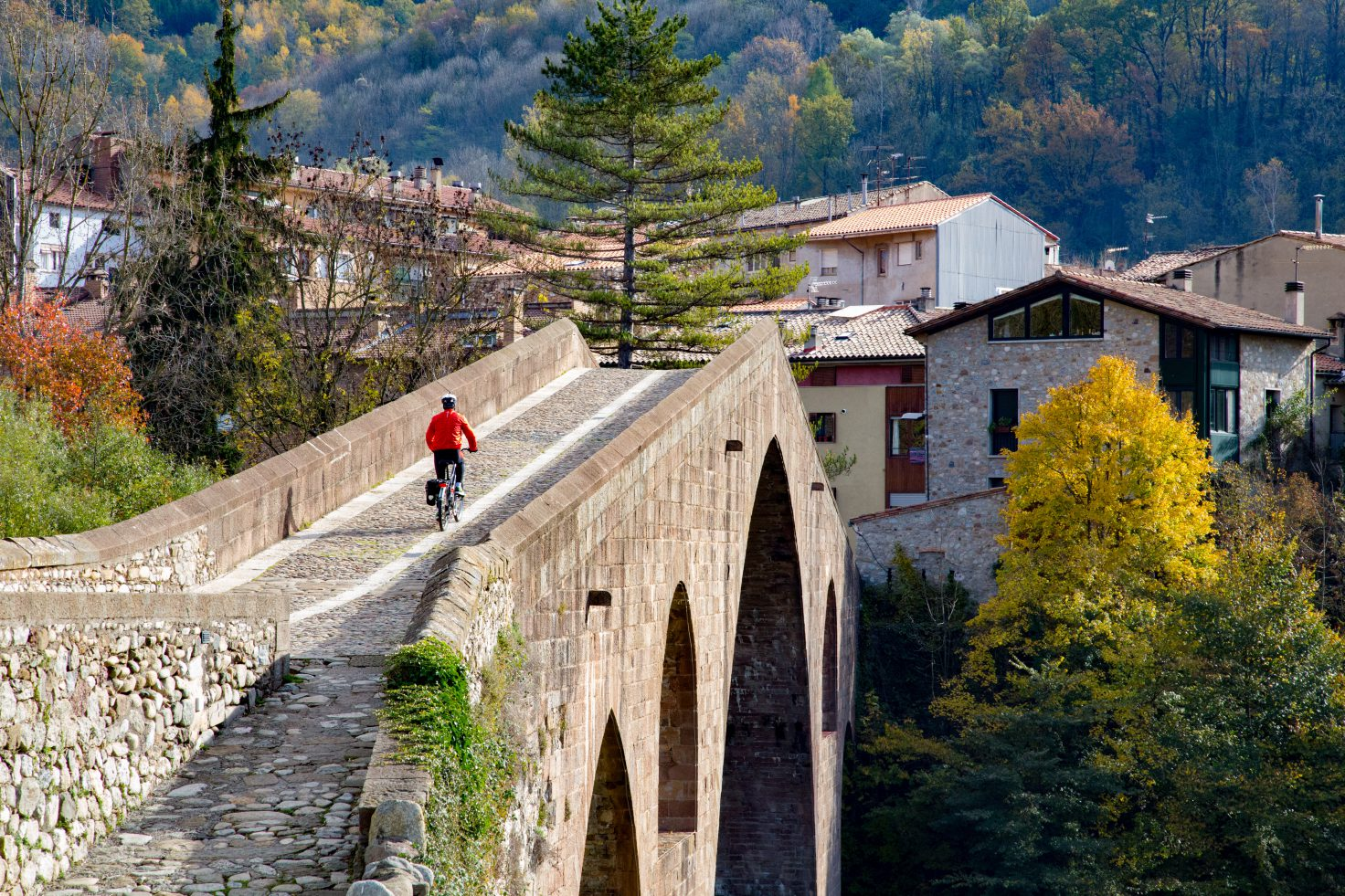 Cyclist on the bridge of Sant Joan de les Abadesses