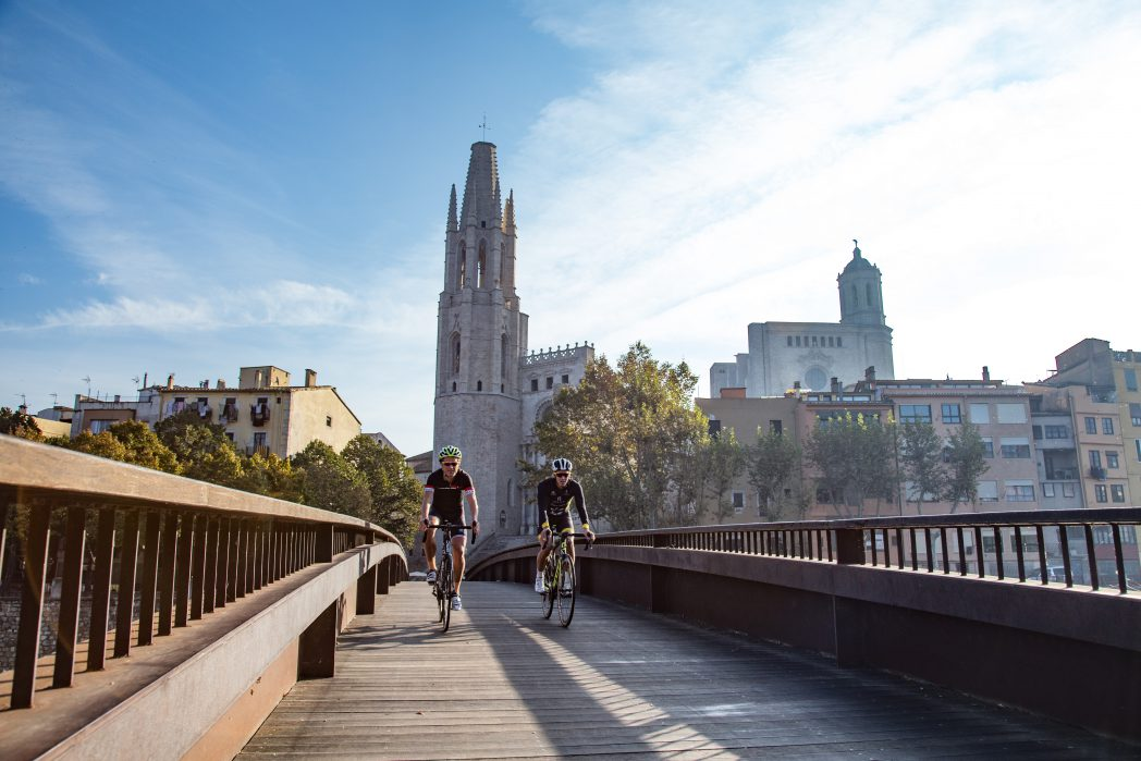 Cyclists in Girona