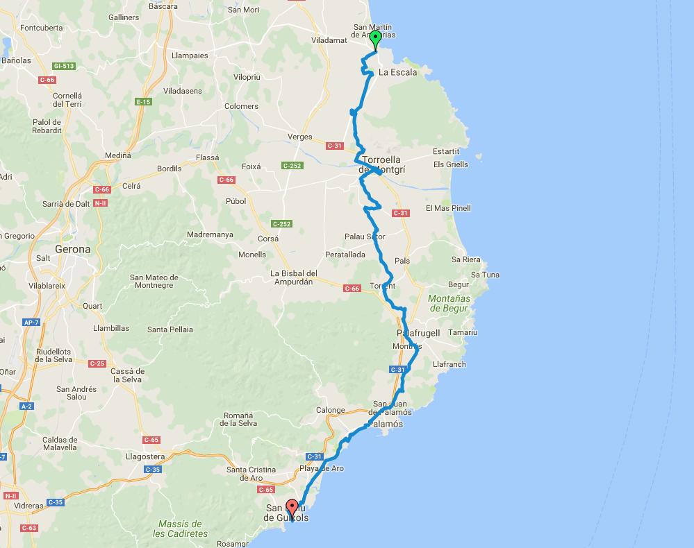 Mapa ruta etapa Baix Empordà