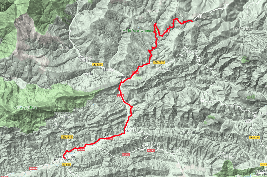 Vall de Camprodon Route map