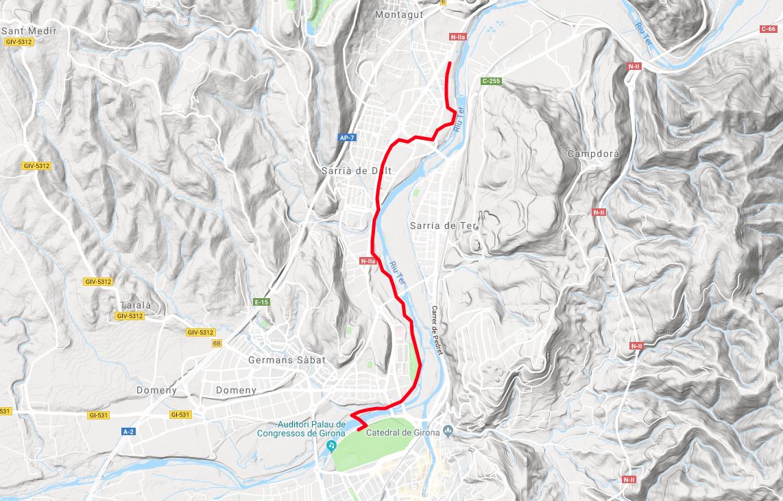 Mapa Ruta Girona - Sarrià de Ter