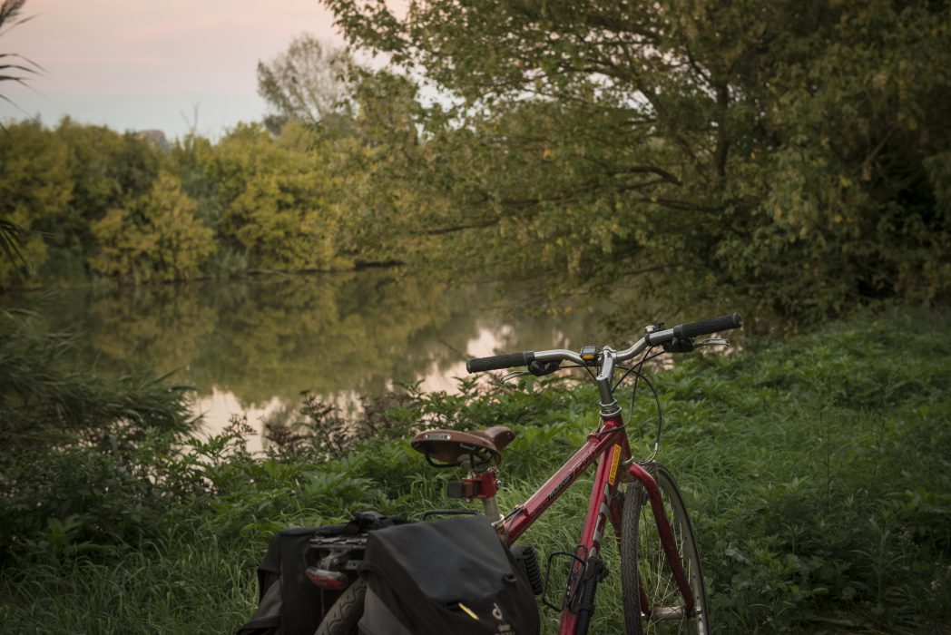 Bicycle in front of a river