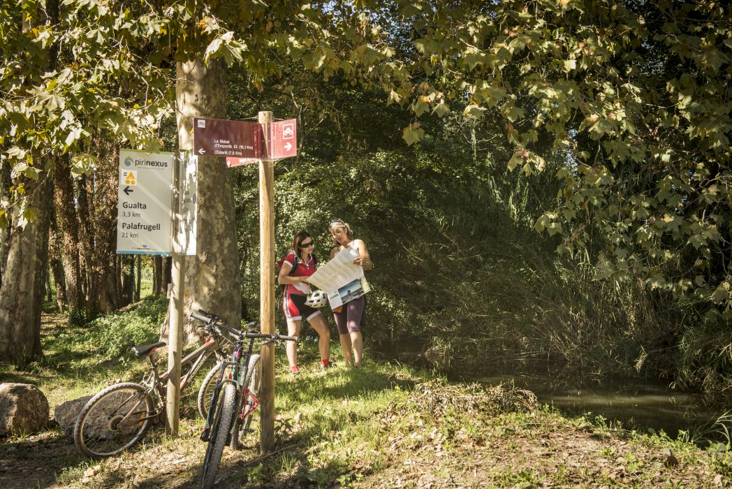 Cyclists checking a map in the Baix Empordà Route