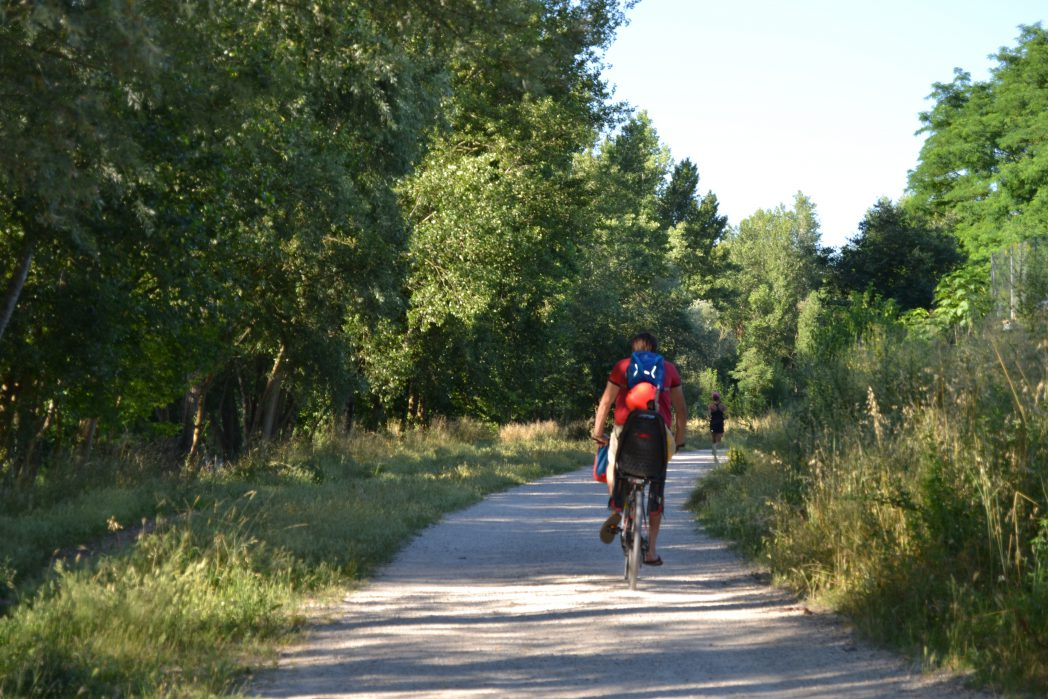 Dad & son cycling in the Girona - Sarrià de Ter Route