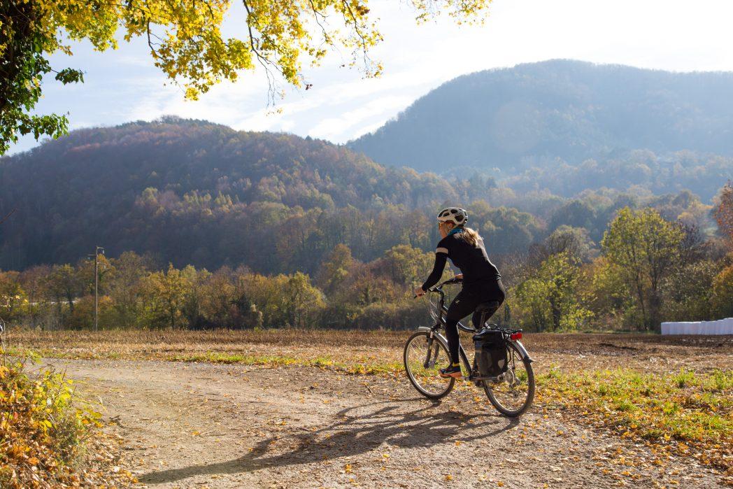 Cyclist in the Vall de Camprodon Route