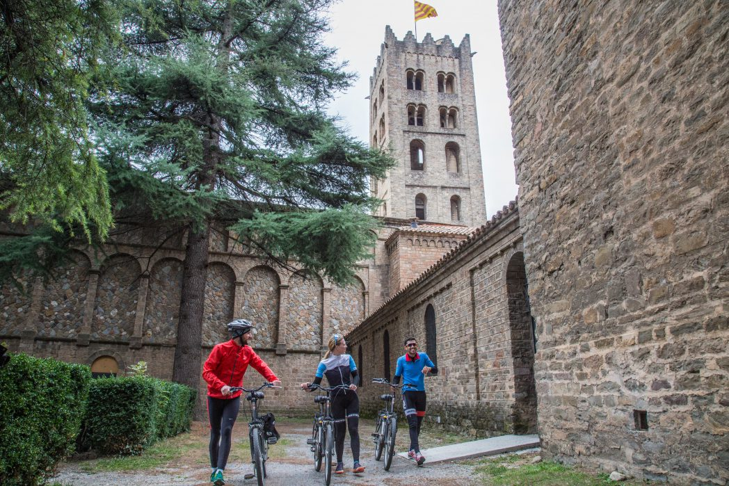 Cyclists in Sant Joan de les Abadesses