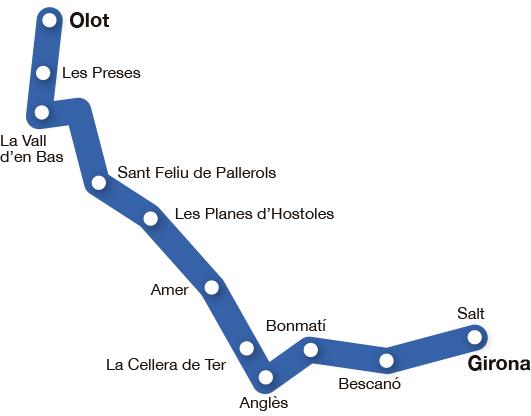 Mapa pobles ruta etapa del Carrilet I