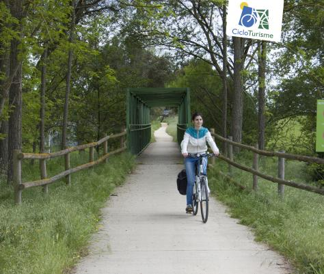 A cyclist going through the greenways