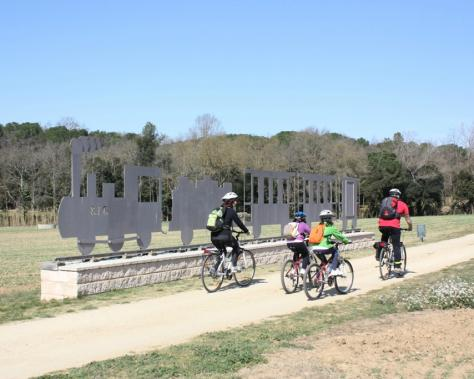Family on bike on the Greenways