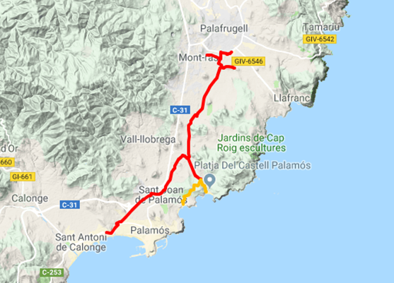 Mapa de la Ruta del Tren Petit