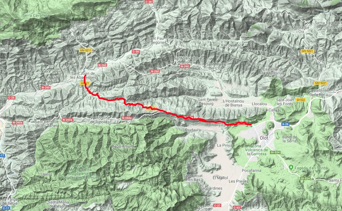 Mapa ruta tramo enlace Sant Joan de les Abadesses - Olot