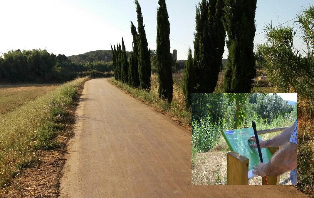 muntatge fotogràfic amb ruta amb sauló estabilitzat i un cartell en braille