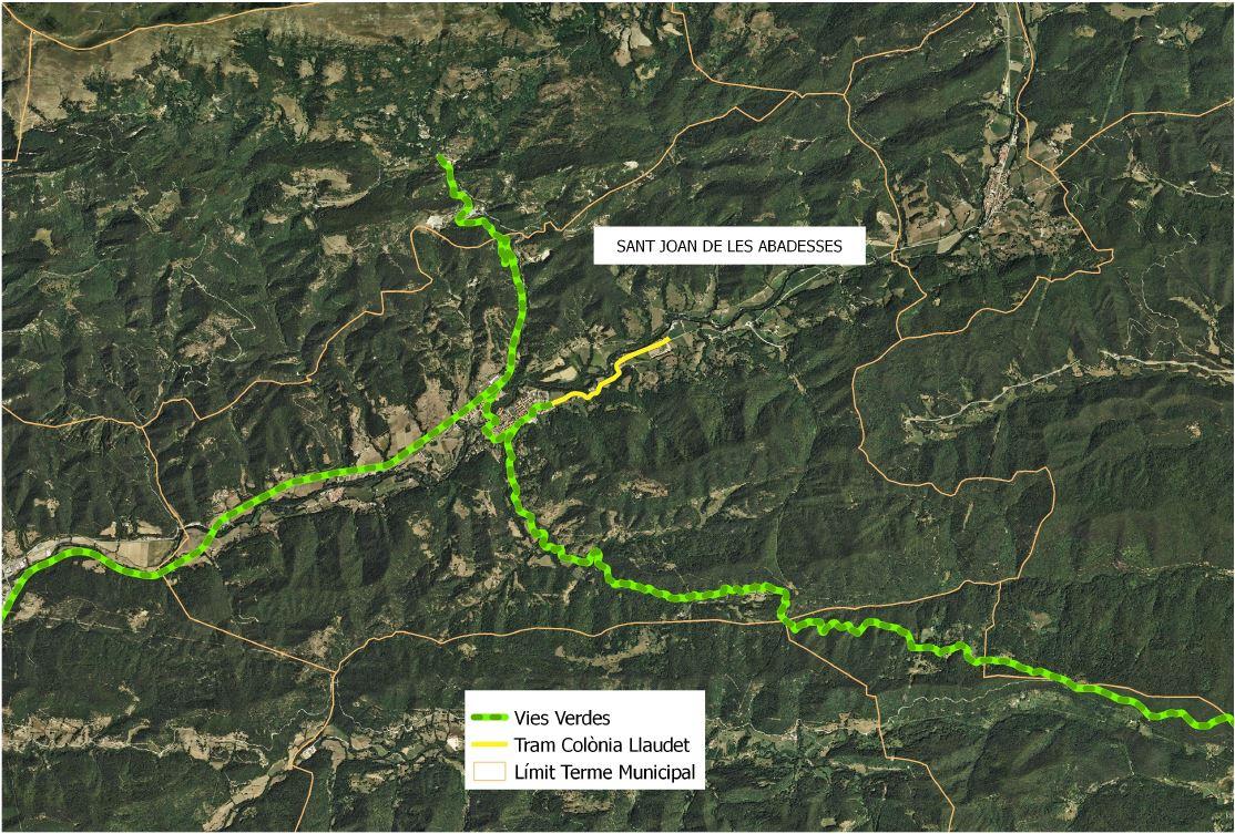 Mapa detall de la via verda a l'interior de Sant Joan de les Abadesses i fins  a la Colònia Llaudet, vista sobre geografia