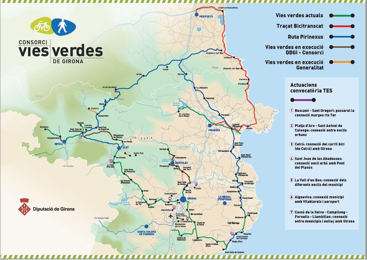 mapa amb totes les rutes de Vies verdes, Pirinexus, BiciTransCat i projectes finançats pel Feder 2019