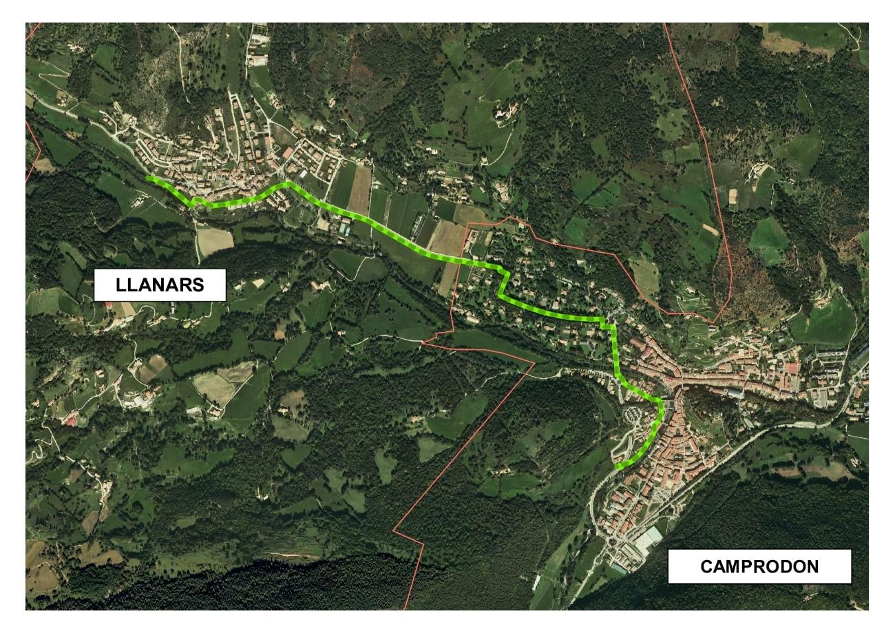 foto mapa ruta Llanars Camprodon