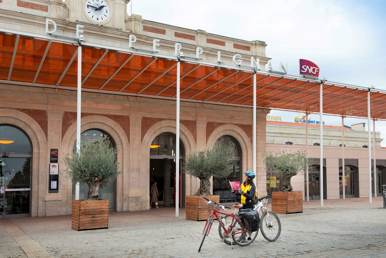 Train station in Perpignan, Bicitranscat project