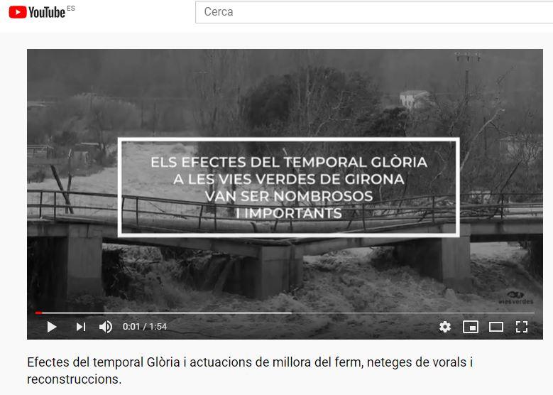 portada del vídeo de los efectos del temporal y reparación en las Vías Verdes de Girona