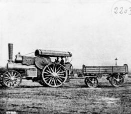La locomotora i un vagó del locomòbil