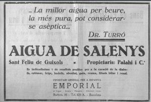 Cartell publicitari Aigües de Salenys